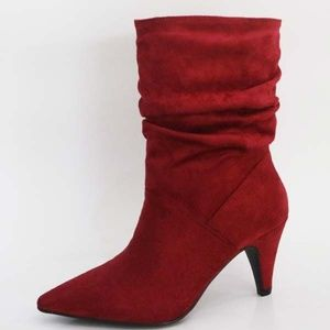 BAMBOO Cognac Ankle High Booties Side Zipper Faux Suede Womens Cuban Heels